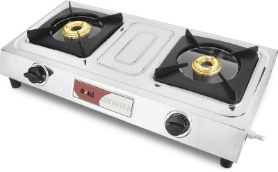 Ideale Graacio VINTO Burner Glasstop Glass, Stainless Steel Manual Gas Stove(3 Burners)