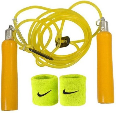 GB Pack Of Wooden Skipping Rope & Wrist Band Gym & Fitness Kit  available at flipkart for Rs.187