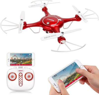 SYMA X5UW Wi-Fi FPV 720P HD Camera Quadcopter with Flight Plan Route and Altitude Hold Function App Control Drone(Red) at flipkart