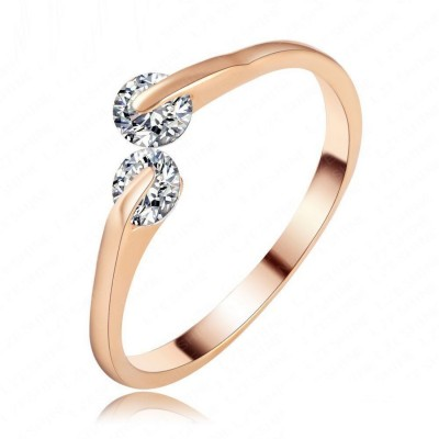 Jewels Galaxy Luxuria Copper Zircon 18K Rose Gold Plated Ring