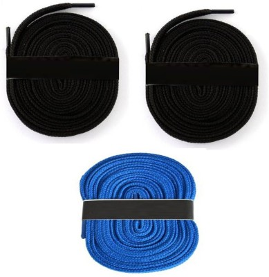 Fashion Gateway 36 Inch Sports Shoe Cotton SL03 Shoe Lace(Black, Black, Blue Set of 3)  available at flipkart for Rs.189