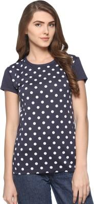69GAL Printed Women Round Neck Dark Blue T-Shirt Flipkart