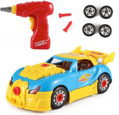 Toys Bhoomi 2 in 1 Build Your Own Take Apart Racing Car Modification Playset – Includes Electric Drill   Car Parts with Lights and Sounds  30 Pieces