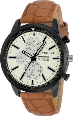 VIKINGS VK-G1101-WHT-TAN-DAY & DATE WITH COLOURED GLASS WITH CRACO STYLE STRAP DD SERIES Watch  - For Boys   Watches  (VIKINGS)