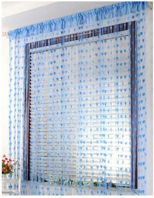 Angel Homes 210 cm  7 ft  Cotton Door Curtain  Pack Of 2  Floral, skyblue