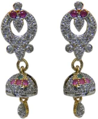 Pourni Pourni exclusive Designer American Diamond Jhumka Earring -PRER111 Copper Jhumki Earring  available at flipkart for Rs.249