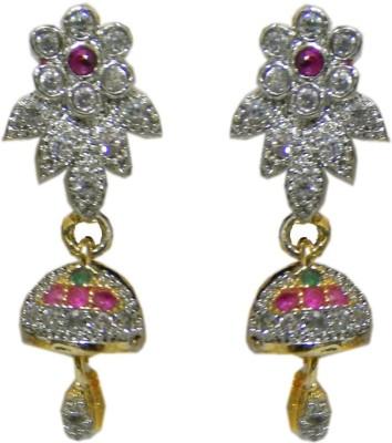 Pourni Pourni exclusive Designer American Diamond Jhumka Earring -PRER120 Copper Jhumki Earring  available at flipkart for Rs.259