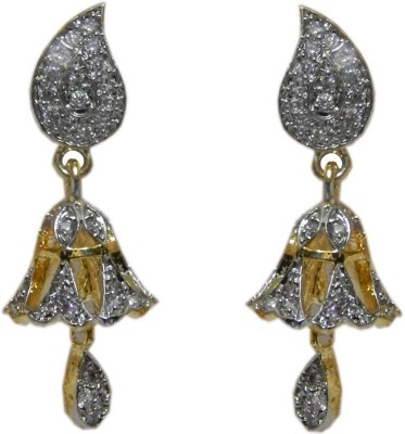 Pourni Pourni exclusive Designer American Diamond Jhumka Earring -PRER110 Copper Jhumki Earring  available at flipkart for Rs.257