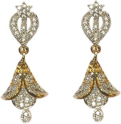 Pourni Pourni exclusive Designer American Diamond Jhumka Earring -PRER105 Copper Jhumki Earring  available at flipkart for Rs.351