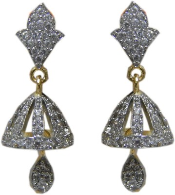 Pourni Pourni exclusive Designer American Diamond Jhumka Earring -PRER103 Copper Jhumki Earring  available at flipkart for Rs.299