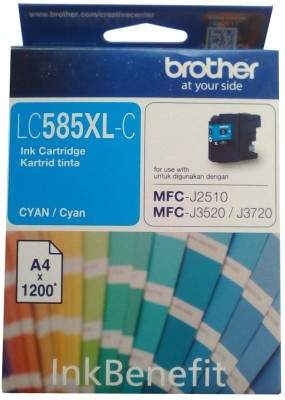 Brother LC585 XL- C Cyan Original Cartridge Box Pack For Brother MFC-J2510 MFC-J3520 & MFC-J3720 Printers Single Color Ink(Cyan)