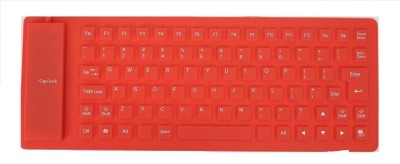 ReTrack Portable Flexible Silicone Foldable Waterproof Wired USB Tablet Keyboard(Red)