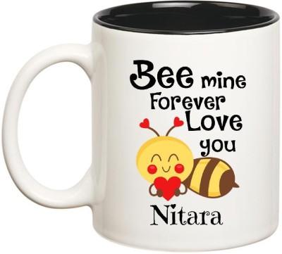 Huppme Love You Nitara Bee mine Forever Inner Black Ceramic Mug(350 ml), Black;white