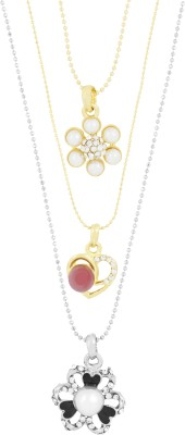 the jewelbox Trendy, Floral & Heart CZ Yellow Gold Cubic Zirconia Brass Pendant Set