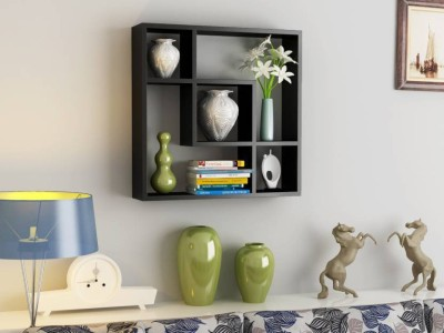 ALL RAFTS ART SQAURE MDF Wall Shelf(Number of Shelves - 6, Brown)