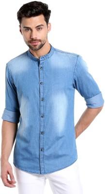 Dennis Lingo Men Solid Casual Blue Shirt