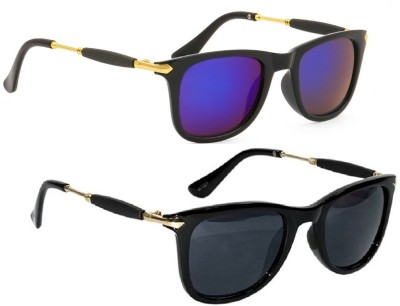 Poloport Wayfarer, Wayfarer Sunglasses(Black, Blue) at flipkart