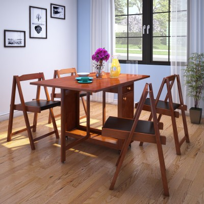 HomeTown Compact Folding Solid Wood 4 Seater Dining Set(Finish Color - Walnut)