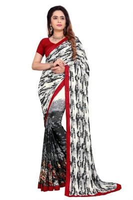 The Fashion Outlets Printed Bollywood Crepe, Silk Saree(Black, Red)