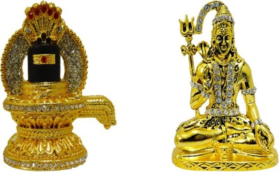 2.8 inch x 2 inch, Orange TiedRibbons Gold Plated Ganesha Statue Ganpati Idol for Home D/écor car Dashboard