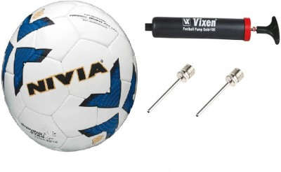 Nivia Combo Of 3, Shining Star Football Size: 5 ,Vixen Pump, and Needle Football - Size: 5(Pack of 1, Multicolor)  available at flipkart for Rs.899