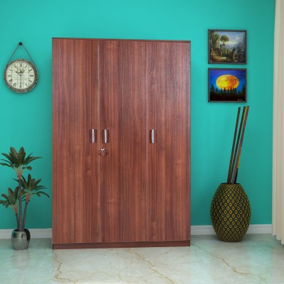 HomeTown Premier 3 Door Regato Walnut Engineered Wood Almirah(Finish Color - Regato Walnut)