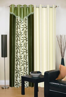 Stella Creations Polyester Green, Beige Printed Eyelet Door Curtain(214 cm in Height, Pack of 2) at flipkart