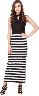 Texco Women Maxi Black, White Dress