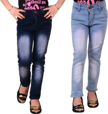 Guchu Slim Girls Blue Jeans(Pack of 2)