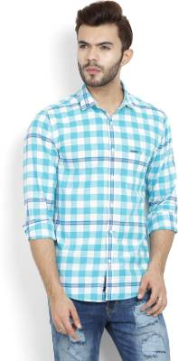 Peter England University Men's Checkered Casual White, Blue Shirt