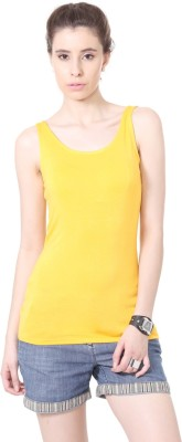 People Casual Sleeveless Solid Women Yellow Top