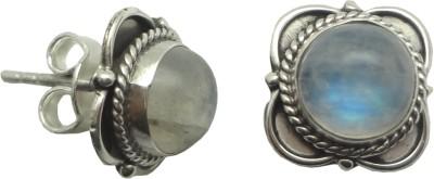 YugshaJewels Sparkling Moonstone Sterling Silver Stud Earring