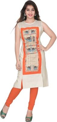 Seagull Casual Printed Women Kurti(Orange)
