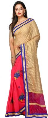 Kimatra trendy fashion mantra Embroidered, Self Design, Embellished Fashion Brasso, Net, Georgette Saree(Beige, Pink)