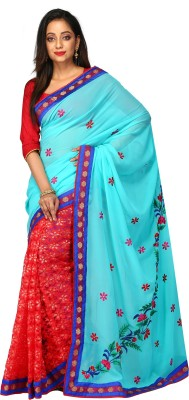 Kimatra trendy fashion mantra Embroidered Fashion Georgette, Lace Saree(Blue, Red) Flipkart