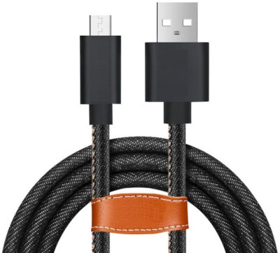 Edfigo Denim Braided Micro USB 2.4A (High-Speed) Fast Data Sync & Charge Cable(Mobile, Black)