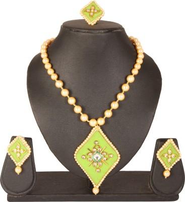 Apara Alloy Jewel Set(Gold, White)