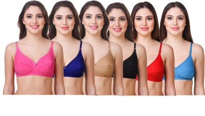 OSTIUM by(Pack of 4) White, Black, Red and Light Blue Color, 6 Straps, (Removable) Padded, Free Size, (Pack of 4) White, Black, Red and Light Blue Color, 6 Straps, (Removable) Padded, Free Size, Women, Girls Bralette Lightly Padded Bra(Light Blue, Red, White, Black)
