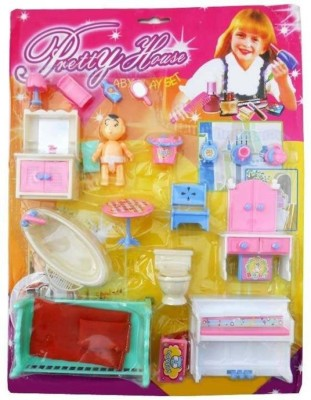 Techhark Kids Assignment In School Like all in one Pretty Furniture House kit, bedroom set, doll set, kitchen set little pieces(Multicolor)