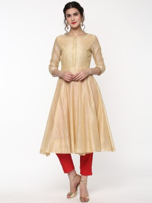 Libas Women Solid Anarkali Kurta(Yellow)