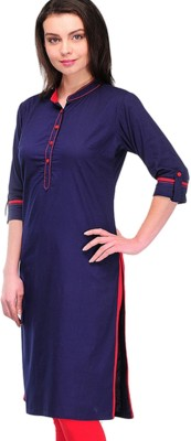 Apex Festive & Party Self Design Women Kurti(Purple, Red)
