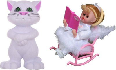 M N Overseas Musical Book Reading Chair Doll with Talking Tom(Multicolor)  available at flipkart for Rs.885