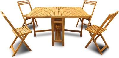 Auspicious Home Oil, Teak Color Solid Wood Table & Chair Set(Finish Color - Oil, Teak Color)