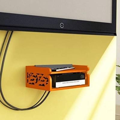Tech decor Set Top Box Holder cum Remote Organizer Wooden Wall Shelf(Number of Shelves - 2, Orange)