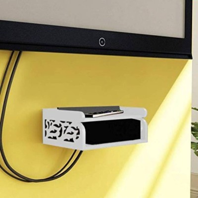 Tech Decor Set Top Box Holder cum Remote Organizer Wooden Wall Shelf(Number of Shelves - 2, White)
