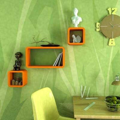 Decorasia Orange Cube Shape MDF Wall Shelf(Number of Shelves - 3, Orange)