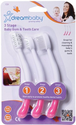 Dreambaby TOOTHBRUSH SET 3 STAGE PINK-(324)(Multicolor)
