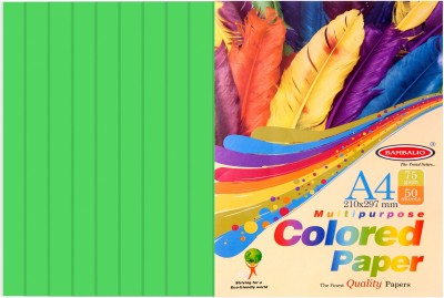 Bambalio colour Paper- Pack of 200 Sheets Smooth Finish 75 gsm/ A4 Size Green Color- Photo Copy/Copier/Printing/ Art & Craft Coloured Paper(Set of 4, Green)  available at flipkart for Rs.360
