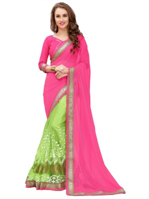 1c02fb4a37f View Qualimate Embroidered, Embellished Fashion Georgette Saree(Pink,  Green) Price Online