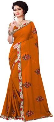 bhavna creation Embroidered Fashion Georgette Saree(Mustard) Flipkart